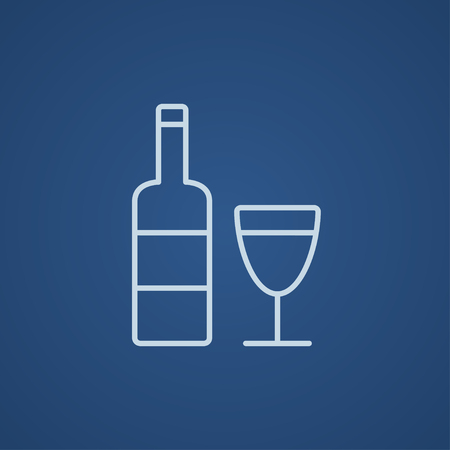 Bottle of wine line icon for web, mobile and infographics. Vector light blue icon isolated on blue background.