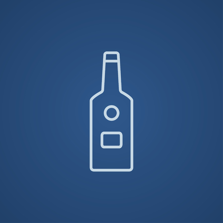 bourbon whisky: Glass bottle line icon for web, mobile and infographics. Vector light blue icon isolated on blue background.