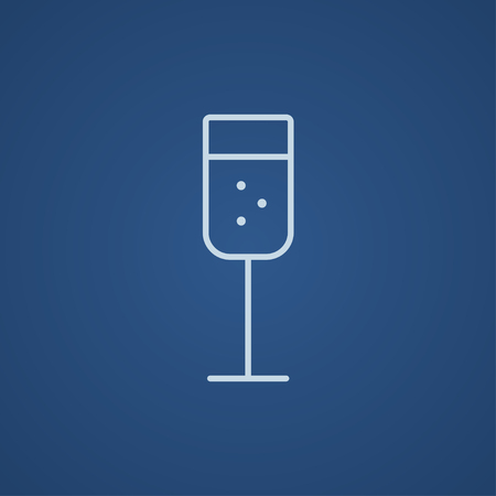 Glass of champagne line icon for web, mobile and infographics. Vector light blue icon isolated on blue background. Illustration