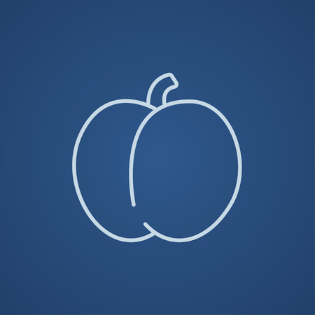 ripened: Plum with leaf line icon for web, mobile and infographics. Vector light blue icon isolated on blue background.