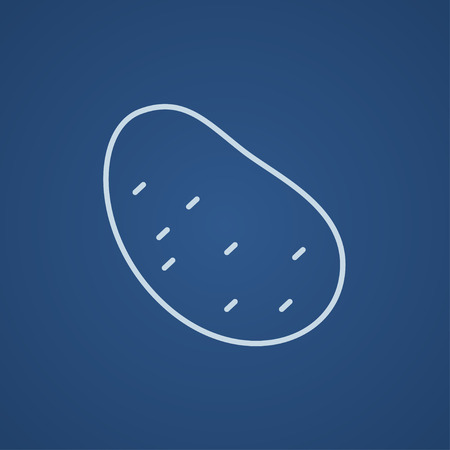 tuber: Potato line icon for web, mobile and infographics. Vector light blue icon isolated on blue background.