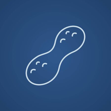 Peanut line icon for web, mobile and infographics. Vector light blue icon isolated on blue background.