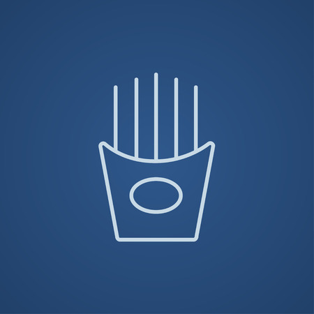 French fries line icon for web, mobile and infographics. Vector light blue icon isolated on blue background.