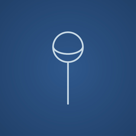 sucking: Round lollipop line icon for web, mobile and infographics. Vector light blue icon isolated on blue background.