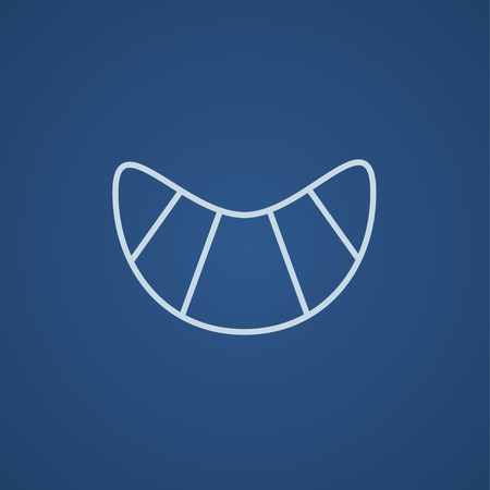 Croissant line icon for web, mobile and infographics. Vector light blue icon isolated on blue background. Illustration