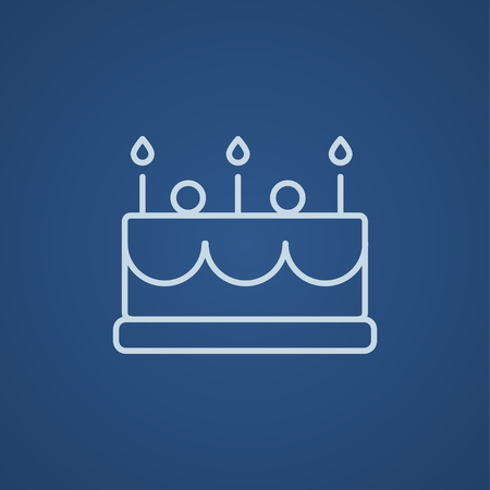 Birthday Cake With Candles Line Icon For Web Mobile And Infographics Vector Light Blue