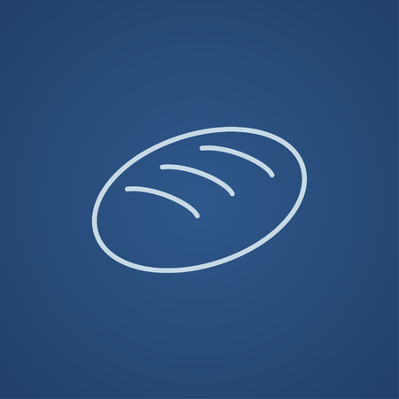 Loaf line icon for web, mobile and infographics. Vector light blue icon isolated on blue background.