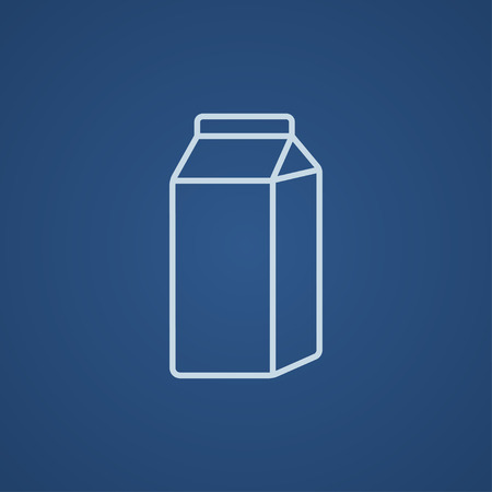 packaged: Packaged dairy product line icon for web, mobile and infographics. Vector light blue icon isolated on blue background.
