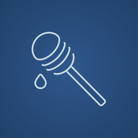 dipper: Honey dipper line icon for web, mobile and infographics. Vector light blue icon isolated on blue background.
