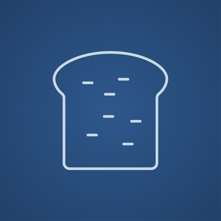 Single slice of bread line icon for web, mobile and infographics. Vector light blue icon isolated on blue background.