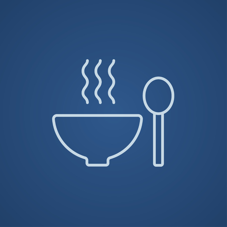 broth: Bowl of hot soup with spoon line icon for web, mobile and infographics. Vector light blue icon isolated on blue background.