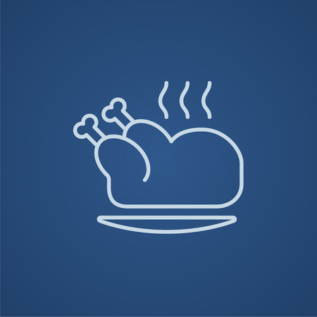 whole chicken: Baked whole chicken line icon for web, mobile and infographics. Vector light blue icon isolated on blue background.