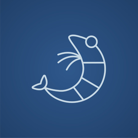 krill: Shrimp line icon for web, mobile and infographics. Vector light blue icon isolated on blue background.