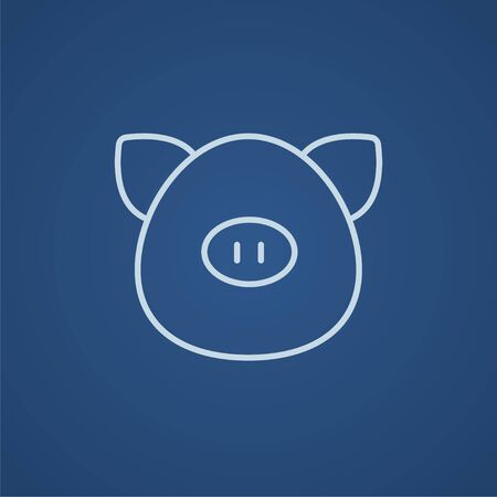 pigling: Pig head line icon for web, mobile and infographics. Vector light blue icon isolated on blue background. Illustration