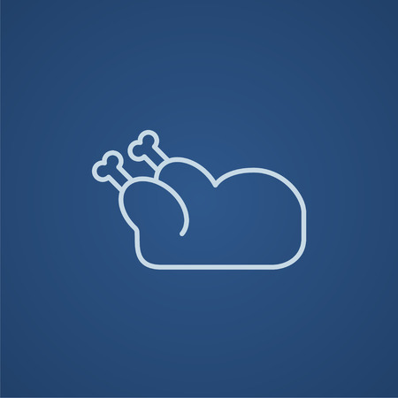 raw chicken: Raw chicken line icon for web, mobile and infographics. Vector light blue icon isolated on blue background.