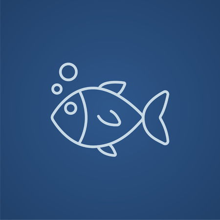 blue fish: Little fish under water line icon for web, mobile and infographics. Vector light blue icon isolated on blue background.