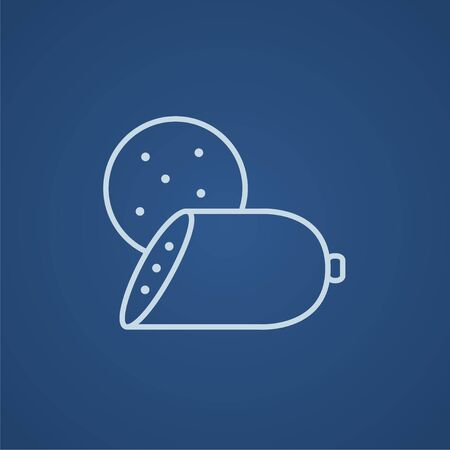 Sliced wurst line icon for web, mobile and infographics. Vector light blue icon isolated on blue background. Stock Illustratie
