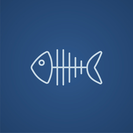 fish tail: Fish skeleton line icon for web, mobile and infographics. Vector light blue icon isolated on blue background. Illustration