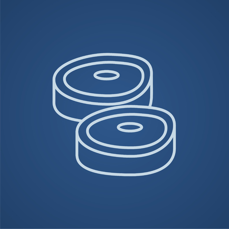 Steak line icon for web, mobile and infographics. Vector light blue icon isolated on blue background. Stock Illustratie