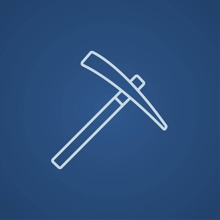 Pickax line icon for web, mobile and infographics. Vector light blue icon isolated on blue background. Illustration