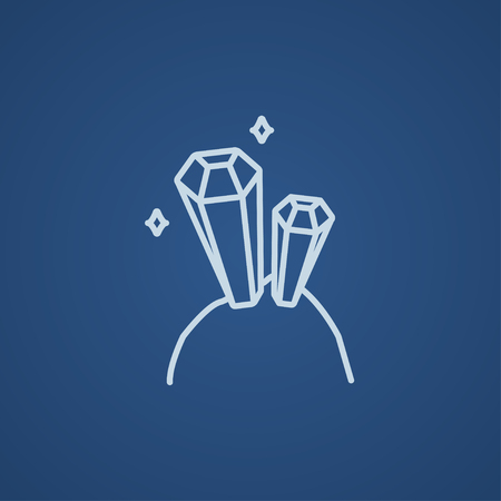 Gemstones line icon for web, mobile and infographics. Vector light blue icon isolated on blue background.