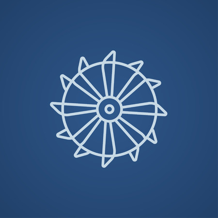 Rotating cutting drum of coal machine line icon for web, mobile and infographics. Vector light blue icon isolated on blue background.