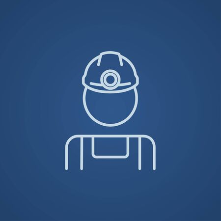 coal miner: Coal miner line icon for web, mobile and infographics. Vector light blue icon isolated on blue background.