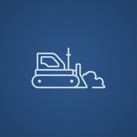 earth moving: Bulldozer line icon for web, mobile and infographics. Vector light blue icon isolated on blue background. Illustration