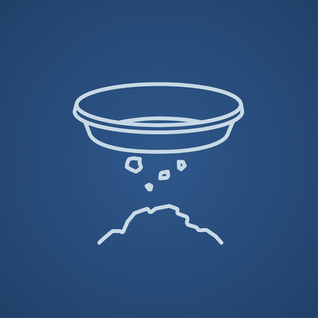 sifting: Bowl for sifting gold line icon for web, mobile and infographics. Vector light blue icon isolated on blue background.