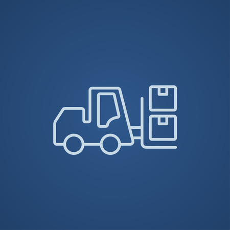 shipping boxes: Forklift shipping boxes line icon for web, mobile and infographics. Vector light blue icon isolated on blue background.