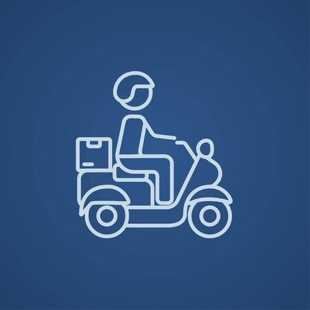 food industry: Man carrying goods on bike line icon for web, mobile and infographics. Vector light blue icon isolated on blue background.