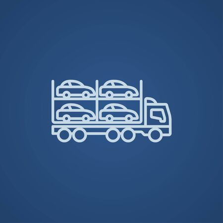 car carrier: Car carrier line icon for web, mobile and infographics. Vector light blue icon isolated on blue background.