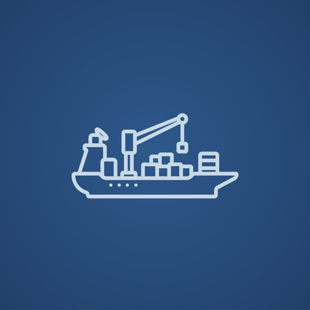 loading dock: Cargo container ship line icon for web, mobile and infographics. Vector light blue icon isolated on blue background.