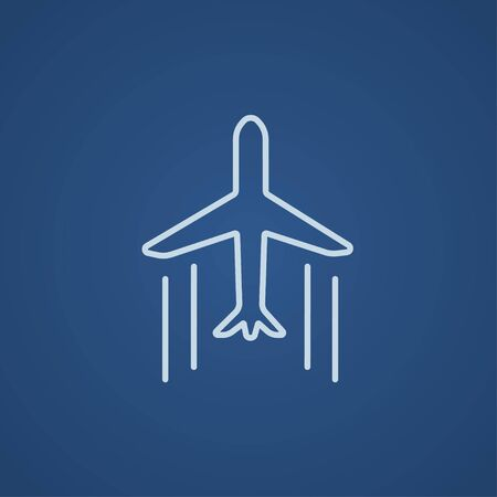 Cargo plane line icon for web, mobile and infographics. Vector light blue icon isolated on blue background.
