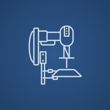 automated: Industrial automated robot line icon for web, mobile and infographics. Vector light blue icon isolated on blue background.