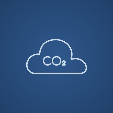 atmospheric: CO2 sign in cloud line icon for web, mobile and infographics. Vector light blue icon isolated on blue background. Illustration