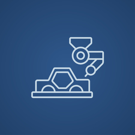 automated: Automated assembly line for cars line icon for web, mobile and infographics. Vector light blue icon isolated on blue background. Illustration