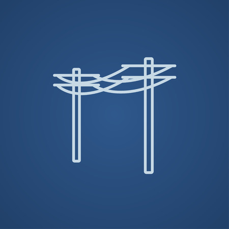 lighting column: High voltage power lines line icon for web, mobile and infographics. Vector light blue icon isolated on blue background. Illustration