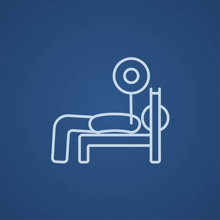 Man lying on bench and lifting barbell line icon for web, mobile and infographics. Vector light blue icon isolated on blue background.
