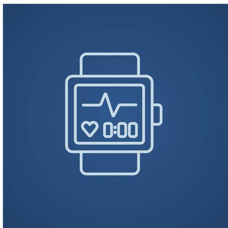 Smartwatch line icon for web, mobile and infographics. Vector light blue icon isolated on blue background.