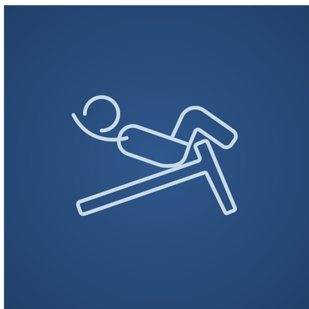 crunches: Man doing crunches on incline bench line icon for web, mobile and infographics. Vector light blue icon isolated on blue background.