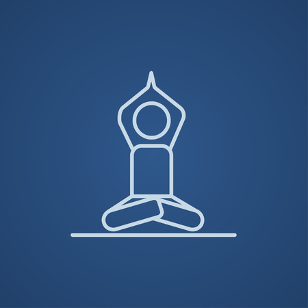 distension: A man meditating in lotus pose line icon for web, mobile and infographics. Vector light blue icon isolated on blue background.