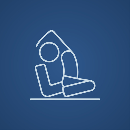 Man sitting in asana eka pada radzhakapotasana line icon for web, mobile and infographics. Vector light blue icon isolated on blue background. Illustration