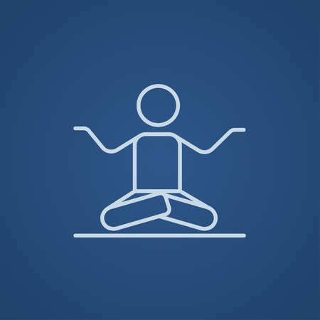elasticity: A man meditating in lotus pose line icon for web, mobile and infographics. Vector light blue icon isolated on blue background.