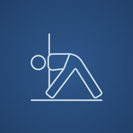 man meditating: A man meditating in triangle pose line icon for web, mobile and infographics. Vector light blue icon isolated on blue background.