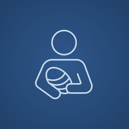 obstetrician: Woman holding the baby line icon for web, mobile and infographics. Vector light blue icon isolated on blue background.