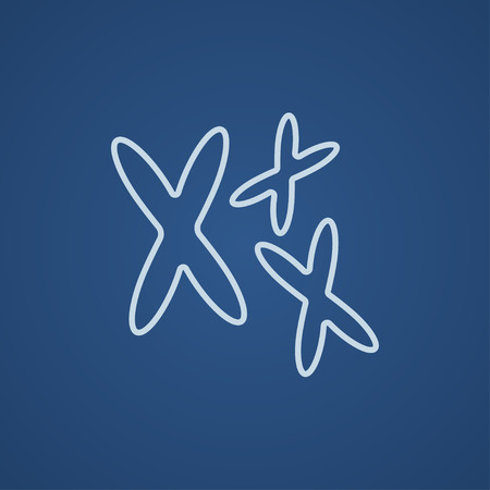 chromosomes: Chromosomes line icon for web, mobile and infographics. Vector light blue icon isolated on blue background.