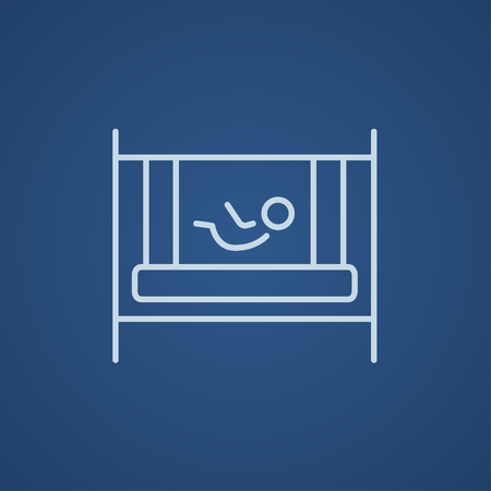 kiddy: Baby laying in the crib line icon for web, mobile and infographics. Vector light blue icon isolated on blue background.