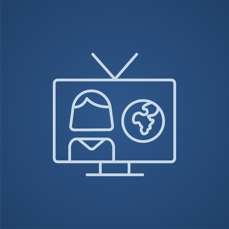 correspondent: TV report line icon for web, mobile and infographics. Vector light blue icon isolated on blue background.
