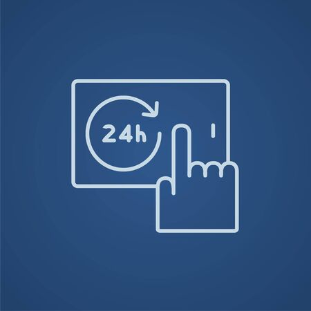 infographics touchscreen: Finger touching 24 hours service button on a touchscreen line icon for web, mobile and infographics. Vector light blue icon isolated on blue background. Illustration